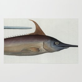 Vintage Illustration of a Swordfish (1785) Rug