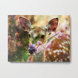 Fawn Peeking Through The Lilac Bushes By Annie Zeno Metal Print