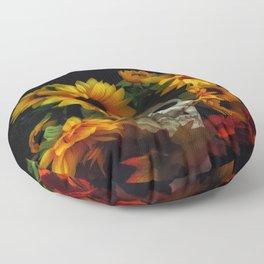 Skull and Flowers Floor Pillow