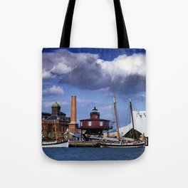 Seven Foot Knoll Lighthouse in Baltimore Harbor Tote Bag