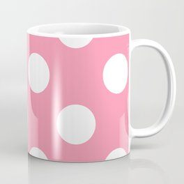 Large Polka Dots - White on Flamingo Pink Coffee Mug
