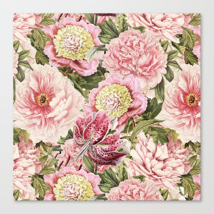 Vintage & Shabby Chic Floral Peony & Lily Flowers Watercolor Pattern Leinwanddruck