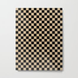 Black and Tan Brown Checkerboard Metal Print