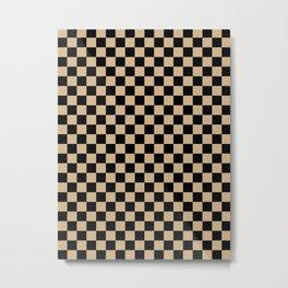 Black and Tan Brown Checkerboard Metal Print