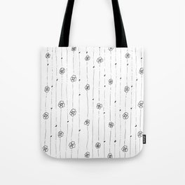 Delicate Flowers Doodle Pattern Tote Bag