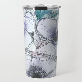 Anemone bouquet illustration watercolor and black ink painting Travel Mug