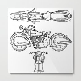 Henderson Motorcycle Prototype Streamliner Main Spec Pre-Patent Drawing Metal Print