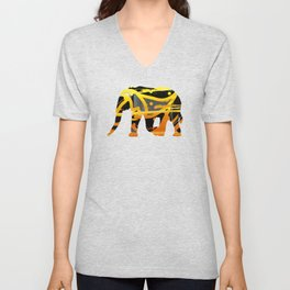 golden silver elephant abstract digital painting Unisex V-Neck