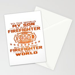 MY SON IS FIREFIGHTER Stationery Cards