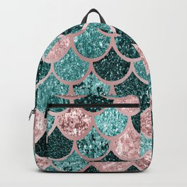 Mermaid Fish Scales, Pink, Rose Gold, Teal, Emerald Green Backpack