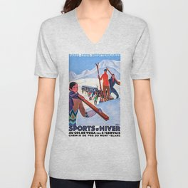 1930 Winter Sports In The French Alps Poster Unisex V-Neck
