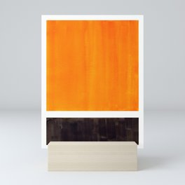 Minimalist Mid Century Modern Color Block Pop Art Rothko Inspired Golden Yellow Black Squares Mini Art Print