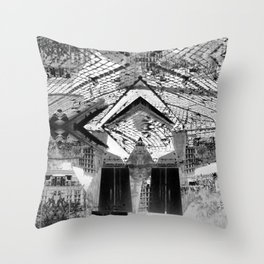 Summer space, smelting selves, simmer shimmers. 24, grayscale version Throw Pillow