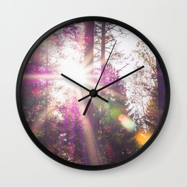 Golden Rainbow Lights Forest (Color) Wall Clock