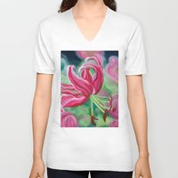 lily V-neck T-shirts featuring lily by Beth Jorgensen