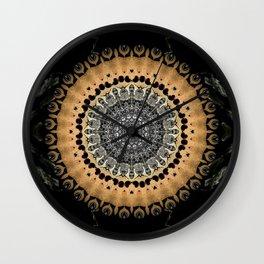 Black Marble with Gold Brushed Mandala Wall Clock