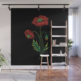 Embroidered Flowers on Black 04 Wall Mural