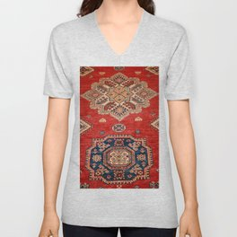 Natural Dyed Handmade Anatolian Carpet Unisex V-Neck