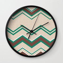 Ric-Rac-Dotty Mocha and Teal Wall Clock