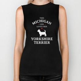 This Michigan Girl Loves Her Yorkshire Terrier Pet Dog Lovers Biker Tank