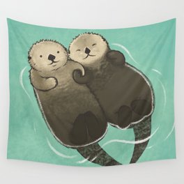 Significant Otters - Otters Holding Hands Wall Tapestry