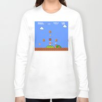 mario bros Long Sleeve T-shirts featuring Super Mario Bros by Trash Apparel