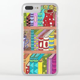 Colorful books on shelves Clear iPhone Case