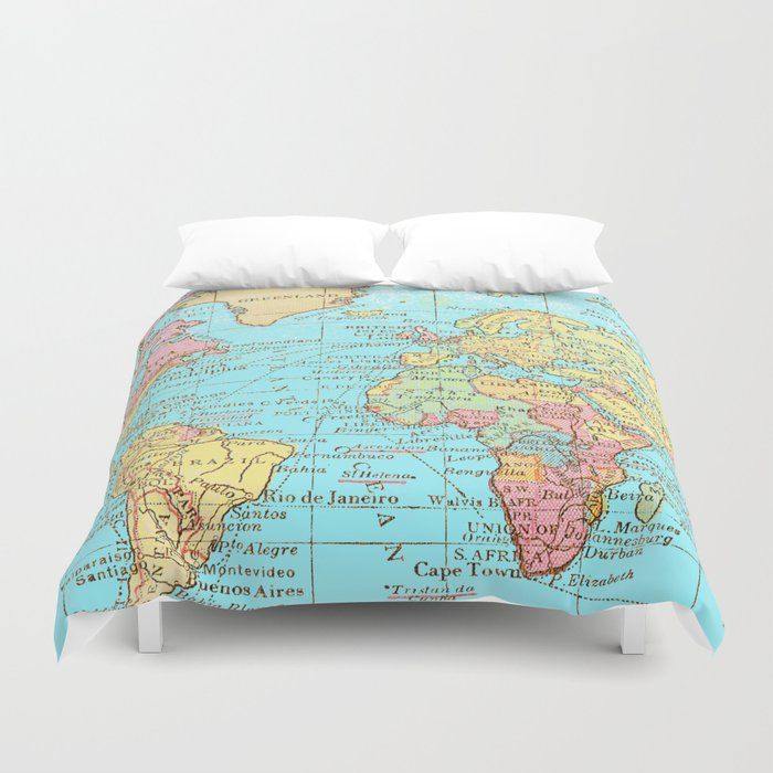 Map of the World Duvet Cover by thewellingtonboot | Society6