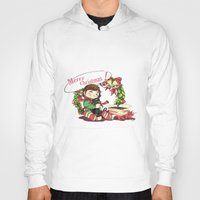 hiccup Hoodies featuring Merry Christmas from Hiccup and Toothless by Clgtart