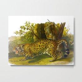 vintage leopard Metal Print