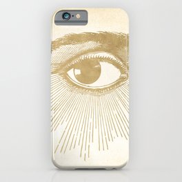 I See You. Vintage Gold Antique Paper iPhone Case