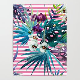 orchid of stripe Poster