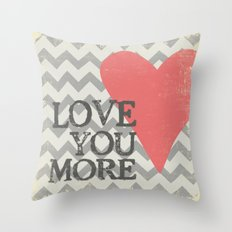 Love You More - Chevron with Heart Throw Pillow