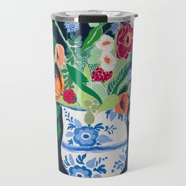 Bouquet of Flowers in Blue and White Urn on Navy Travel Mug