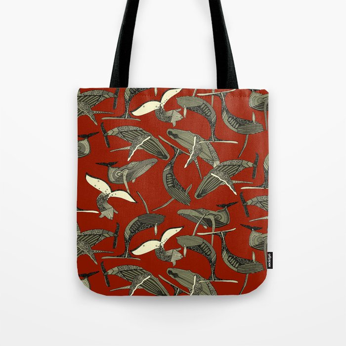 just whales red Tote Bag