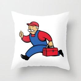 Aircon Technician Running Cartoon Throw Pillow