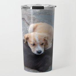 Cute white and black puppies Travel Mug