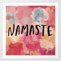 namaste Art Prints featuring Namaste by Laura Santeler