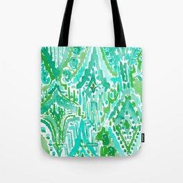 DROPS OF WONDER Green Ikat Tribal Tote Bag