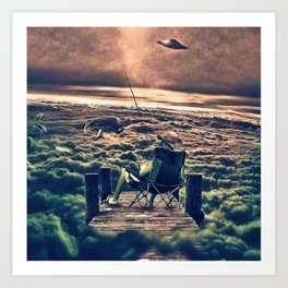 Fishing Above the Clouds Art Print