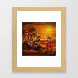 Lion twins | Lion et jumelles Framed Art Print