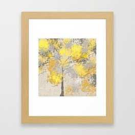 Abstract Yellow and Gray Trees Framed Art Print