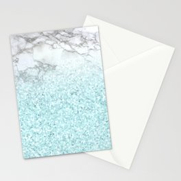 Pretty Turquoise Sparkles on Gray and White Marble Stationery Cards