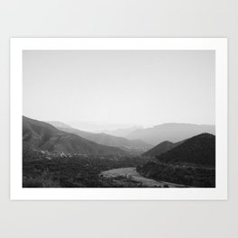 Black and white Atlas Mountains of Ourika Morocco Art Print