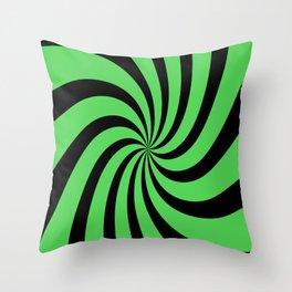 Spiral (Black & Green Pattern) Throw Pillow