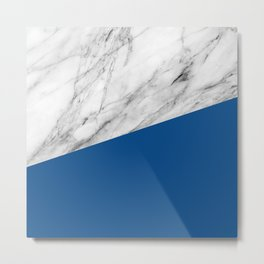 Marble and Lapis Blue Color Metal Print
