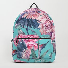 Teal peonies and birds Backpack