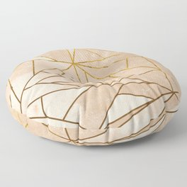 Rustic Stone With Modern Gold Accent Lines Floor Pillow