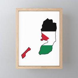 Flag Map of Palestine  Framed Mini Art Print