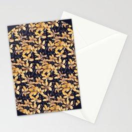 Autumn Gold Flower Pattern Stationery Cards